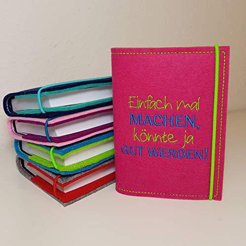 Kalenderhülle A6 aus Filz inkl. Kalender personalisiert Widmung Wunschfarben