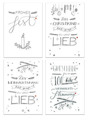 Eine der Guten 12 Weihnachtskarten - Set mit 4 schönen Handlettering Motiven, A6 Postkarten aus Recyclingpapier, fein edel, Rückseite mit Adressfeld für Weihnachtsgrüße, Grußkarten Weihnachten