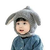 HIOD Niños Bebé Invierno Cálido Sombrero Lindo Niño Gorros con 2 Orejas para Niños Niñas,Gray