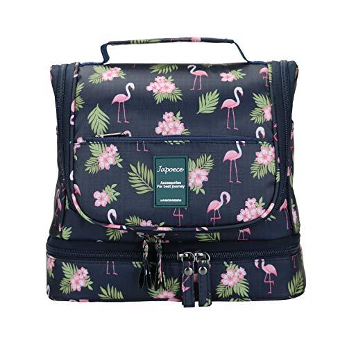 Japoece Bolsas de Aseo Neceser de Viaje Mujer Hombre Neceser para Colgar con con el Gancho Colgante Impermeable y Bolsa de Cosméticos de Baño Multifuncion para Viaje Vacaciones (Azul Oscuro-Flamingo)