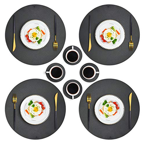 JTX Round Placemats for Dining Table, Set of 4 Leather Placemats and 4 Coasters for Drinks, Easy Clean Heat & Stain Resistant Non-Slip Washable Kitchen Table Mats (Dark Grey)