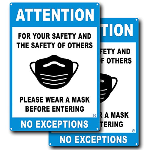 Attention Wear Mask Sign, for Your Safety and The Safety of Others! Please Wear A Mask Before Entering, Coronavirus Sign, Covid19 Sign Plastic, Mask Required Sign, No Mask, No Entry, Blue, 10' x 7'
