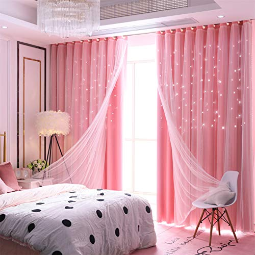 Abreeze Princess Pink Curtain Hollow-Out Stars Dual Layer Grommet Top Mix and Match Blackout Curtains with White Sheer for Living Girl Room(1 Panel,59 x 84 inch,Pink)