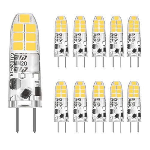 G4 LED Warmweiss 3000K, 12V AC/DC, 2W G4 LED Lamp Birnen Glühbirne Ersatz für 20W Halogenlampen, 360° Abstrahlwinkel Glühbirnen Kein Flimmern, Nicht Dimmbar, CRI>85, 180LM, 10er Pack,CHEERBEE