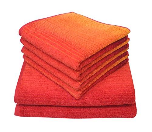 Dyckhoff 0768596400 Handtuchset, Duschtücher 70x140 cm, 4 Handtücher 50x100 cm, 6-teilig, rot