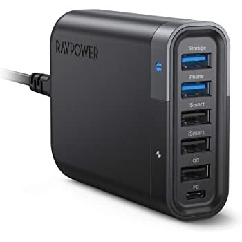 RAVPower USB C Wall Charger 60W 6 Port with Quick Charge 3.0, Backup Function and iSmart Multiple Port, 24W Power Delivery Desktop USB Charging Station Filehub for Phone and Tablet
