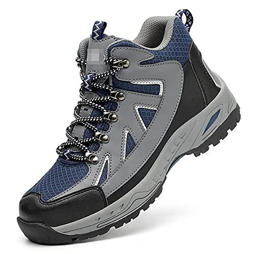 Zapatos de Trabajo Zapatos de Seguridad de Cuero de Microfibra Impermeable for Hombre de Puntera de Acero Alto S1P SRC Trabajo Reflectante Protector, Entrenador Industrial Ocasional (diseño de Lengua