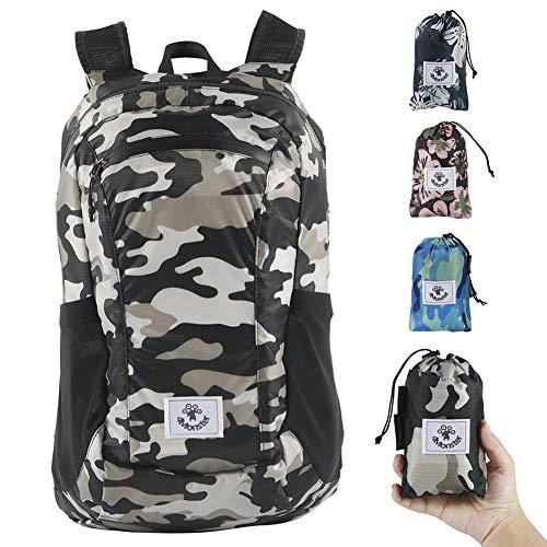 4Monster Wanderrucksack, wasserabweisend, leicht, verstaubar, für Reisen, Camping, Outdoor (Armeegrün, 16 l)
