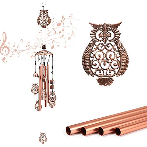 IPHUNGO Owl Wind Chimes Outdoor - 32.8 Inch Art Memorial Hanging Windchime Unique Clearance with 4 Aluminum Alloy Musicly Tubes Wind Bell Gift for Indoor, Outside, Garden, Patio, Yard, Home Decoration