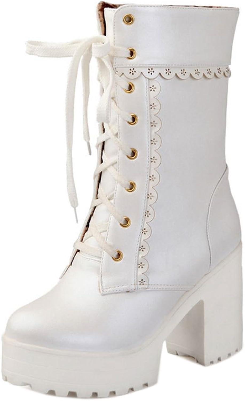 KemeKiss Women Fashion Chunky Heel Winter Short Boots Lace Up Platform Boots