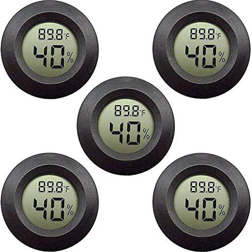 duquanxinquan 5er Pack Mini Hygrometer Thermometer Elektronische Feuchtigkeitsmesser mit LCD-Anzeige Innen Außen für Humidore, Gewächshaus, Garten, Keller, Kühlschrank, Schrank