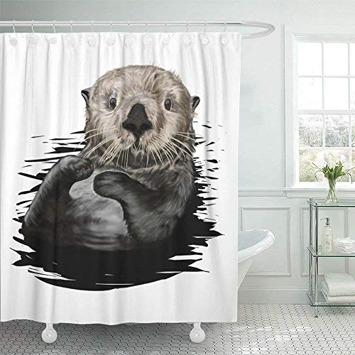 SPXUBZ Brown Drawing Sea Otter Painting Animal Aquatic Character Cheerful Cute Face Shower Curtain Waterproof Bathroom Decor Polyester Fabric Curtain Sets with Hooks