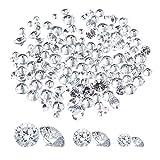 PandaHall 150 abalorios de circonita cúbica, facetados, diamantes de cristal transparente para hacer joyas, 7,4 x 7,2 x 1,7 cm