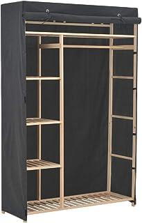 SOULONG Armoire de Rangement Garde-Robe à 5 Niveaux en Tissu et Cadre en Sapin Massif 110 x 40 x 170 cm Gris