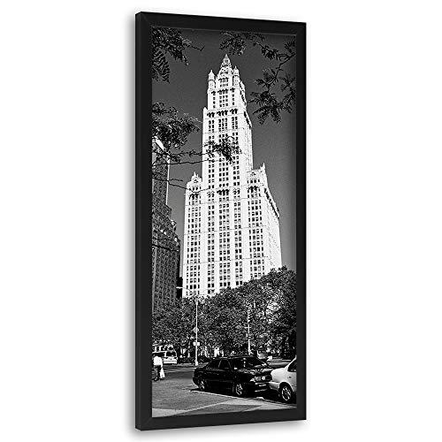 Feeby Bild mit schwarzem Rahmen New York Wanddekoration City schwarz-weiß 25x70 cm