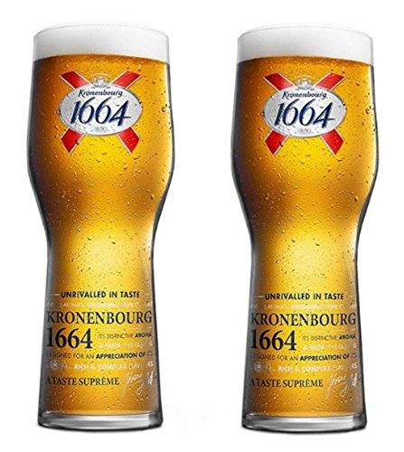 Kronenbourg 1664 Pint Glasses CE Marked 568 millilitre/20 ounce (Set of 2) by Kronenbourg 1664