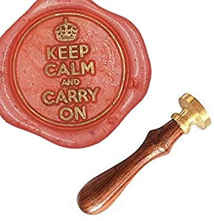 MNYR Vintage Keep Calm and Carry On Crown Gift Card Sealing Art Wax Seal Stamp Rosewood Handle Decorative Wedding Invitation Gift Stationary Envelope Custom Logo Picture Wax Seal Sealing Stamp Set