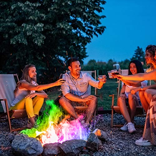 Ysimee Pack of 10 Magic Neon Flames Fire Colourant, Instant Light Smokeless Fire Logs burns for 2-3hours, Mystical Colour Changing Flame