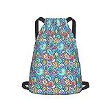 Mochila grande con cordón ajustable y correas anchas con cremallera en la parte posterior, sacos de cincha para viajes, bolsas de natación, para adolescentes, hombres, mujeres, flores, azul