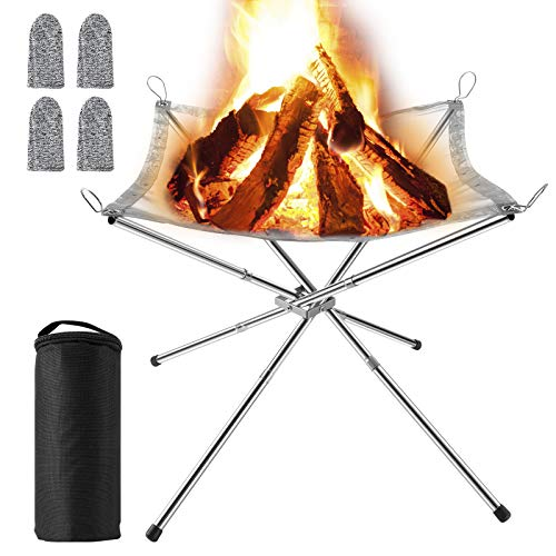 MojiDecor Portable Fire Pit Outdoor, Collapsible Campfire Stand BBQ 304 Stainless Steel Grill Foldable Camping Grill with Carrying Bag for Patio, Camping, Barbecue, Backyard and Garden