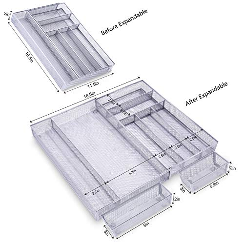Expandable Kitchen Drawer Organizer, 7+2 Separate Compartment with Anti-slip Mats Mesh Kitchen Cutlery Trays Silverware Storage Kitchen Utensil Flatware Tray