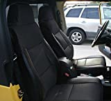 Iggee Black Artificial Leather Custom Made Original fit Front and Rear seat Cover for Jeep Wrangler 2003-2006
