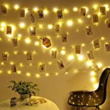 Anpro Clip de Cadena Luces LED Foto, 5M 50 LED,Tira de LUZ,Guirnaldas Luminosas para Decorar Pared,Fiesta,Boda,Habitación- LED photo clip light string