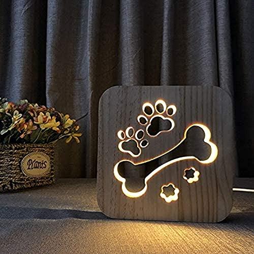 JFFFFWI Star Night Light Madera Tallada Artesanía 3D Huesos y Patas de Perro Lámpara de mesita de Noche LED Decoración Hogar Dormitorio Helado Lámpara de Escritorio Tocador Iluminación de pies, 2.5w