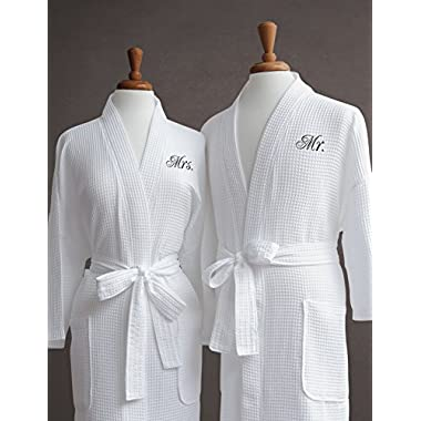 Mr. & Mrs. Couple's Waffle Weave Bathrobe Set - 100% Egyptian Cotton - Unisex/One Size Fits Most Spa Robe Luxurious Soft Plush Elegant Script Embroidery Perfect Wedding Gift Luxor Linens - Mr. & Mrs.