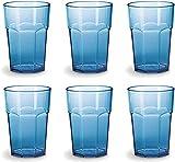 Omada Design set de 6 vasos de bar, refresco o bebida larga 42.5 cl, 12.5 cm de alto en plástico, irrompible, apilable, octogonal y apto para lavavajillas, Unglassy Line (Turquesa)