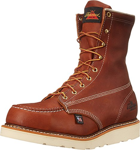 "Thorogood 804-4208 Men's American Heritage 8"" Moc Toe, MAXwear Wedge Safety Toe, Tobacco Oil-Tanned - 10.5 D US"