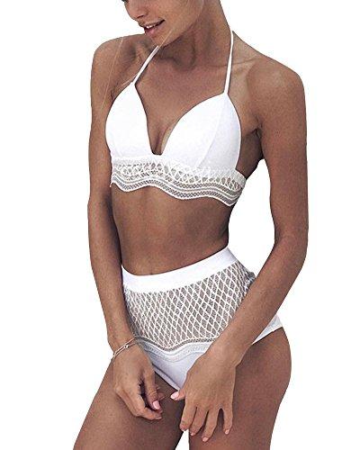 Tomwell Damen Push Up Lace Bikini Sets Neckholder Hohe Taille Bandage Swimsuit Strandmode Bademode Swimwear Beachwer Hohe Taille Weiß DE 40