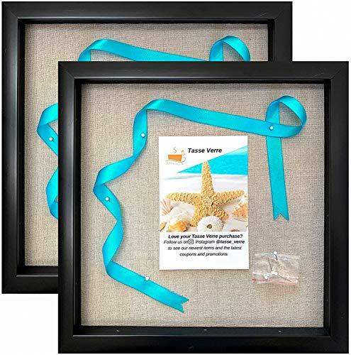 Tasse Verre - Marco de caja de sombra (12.0 x 12.0in, 2 unidades), con fondo de lino y 16 pines de palo, listo para colgar cajas de fotos, fácil de usar, caja de exhibición para bebés y deportes