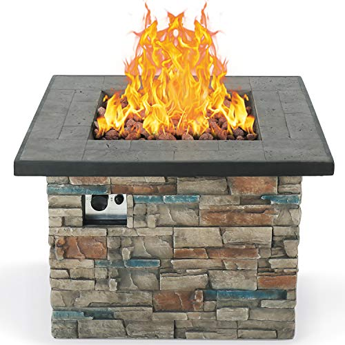 BXYIZU Fire Pit Table Outdoor Gas Fire Pit, 50,000 BTU Lightweight Envirostone Propane Gas Burning Fire Pit-Push-Button for Flame Adjustment Free Lava Rocks,W35 x 24' H