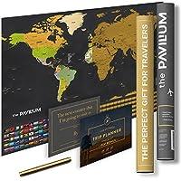 """プレミアムScratch Off Map of the World with United States &すべての国–17"""" x 24""""–Make Amazing Memories W/ラミネートワールドマップポスターW/フラグ、Scratcherツール& Dry Eraseマーカーby the pavillium"""