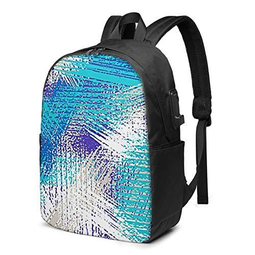 Laptop Backpack with USB Port Grunge Brush Urban, Business Travel Bag, College School Computer Rucksack Bag for Men Women 17 Inch Laptop Notebook