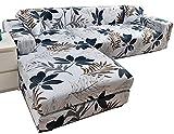uyeoco Fundas Sofas Elástica Chaise Longue Funda Cubre Sofá de Forma L Protector para Sofá elástica(en Forma de L Necesita Comprar 2 Juegos) (Color : D, Size : 3 plazas (190-230cm))