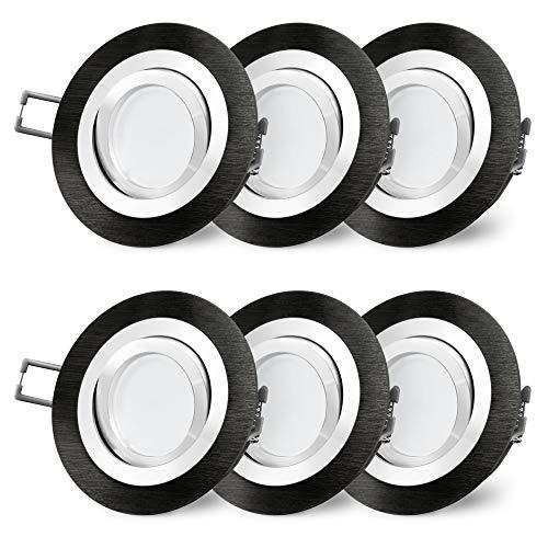 Preisvergleich Produktbild 6 Stück SSC-LUXon RF-2 LED Einbaustrahler rund Alu schwarz gebürstet - mit Milky LED GU10 5W warmweiß 230V - Spot schwenkbar