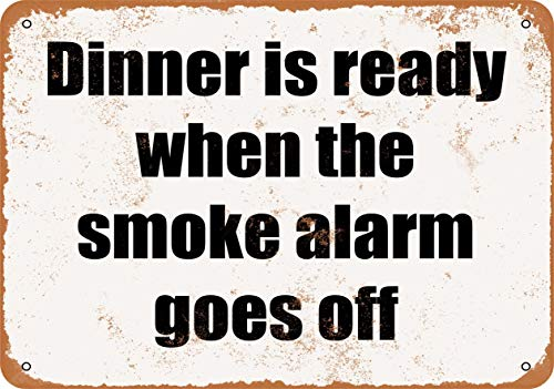 Scott397House Metal Tin Sign, Dinner is Ready When The Smoke Alarm Goes Off Vintage Wall Plaque Man Cave Poster Decorative Sign Home Decor for Indoor Outdoor Birthday Gift 7x10 Inch