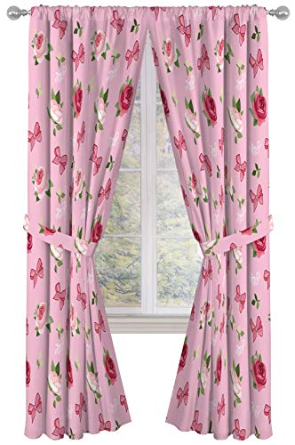 """Nickelodeon JoJo Siwa Roses & Bows 84"""" inch Drapes 4 Piece Set - Beautiful Room Décor & Easy Set up - Window Curtains Include 2 Panels & 2 Tiebacks (Official Nickelodeon Product)"""