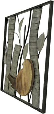 Zeckos Rustic Birds and Branches 2 Piece Wood and Metal Wall Sculpture Set