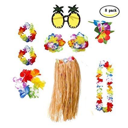Hawaiian disfraces mujeres collar Leis Garland Hawaii flor pinza de pelo y gafas de sol de piña decoraciones del partido, 8 piezas