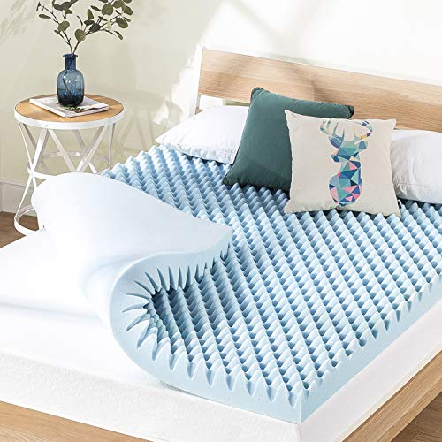 Best Price Mattress 4 Inch Egg Crate Memory Foam Mattress Topper with Cooling Gel Infusion, CertiPUR-US Certified, Queen, Light Blue (ECMF-GM4Q)