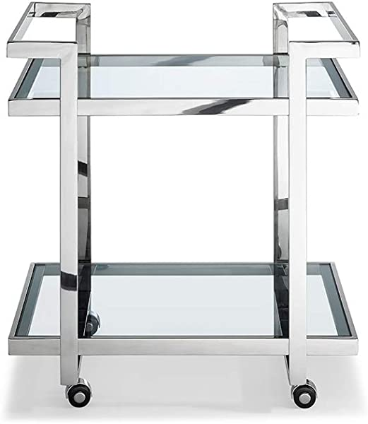 Whiteline Modern Living ST1383 Modern Occasional Vegas Side End Bar Cart Accent Table Silver Clear