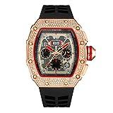 KJDS Cool Sport Watch - Orologio da polso da uomo con cronografo Hip Hop da uomo, stile militare, di lusso, in oro, Relogio Masculino (rosa nero)