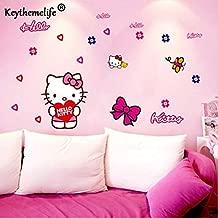 1 piece Keythemelife Cartoon PVC Removable Kids Wall Sticker Rooms Decor Lovely Hello Kitty Wall Sticker Car Stickers Home Decor CA