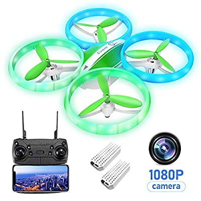 EACHINE E65HW Mini Drone with Camera 1080P for Adults and Kids 3D Flips Propellers Safety Guard Indoor Outdoor Drone Easy to Operate for Beginners Drone Toys for Boys and GirlsGreen (1 Battery)