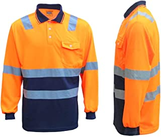 Zmart Australia HI VIS Long Sleeve Workwear Shirt w Reflective Tape Cool Dry Safety Polo 2 Tone