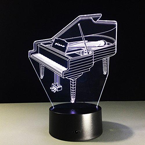 Led Nachtlicht 3D Kinder Illusion Stimmungslicht,Musikinstrument Klavier Schreibtisch Lampen 7 Farben Ändern Touch Switch Fernbedienung Nachttischlampe ,Kinder Geburtstagsgeschenk