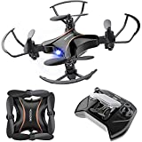 Mini Drone for Kids, Great DROCON Drone for Beginners, Foldable Pocket Small RC Quadcopter with Altitude Hold, 3D Flips, Headless Mode, Great Gift and Easy to operate for Boys and Girls, Black